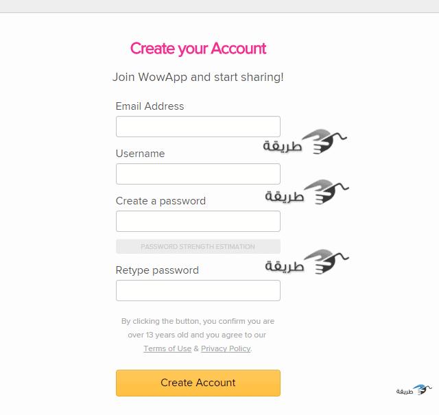 Create your Account – WowApp