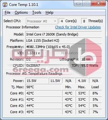 برنامج معرفة درجة حرارة المعالج