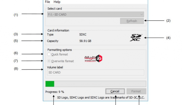 برنامج SD Memory Card Formatter